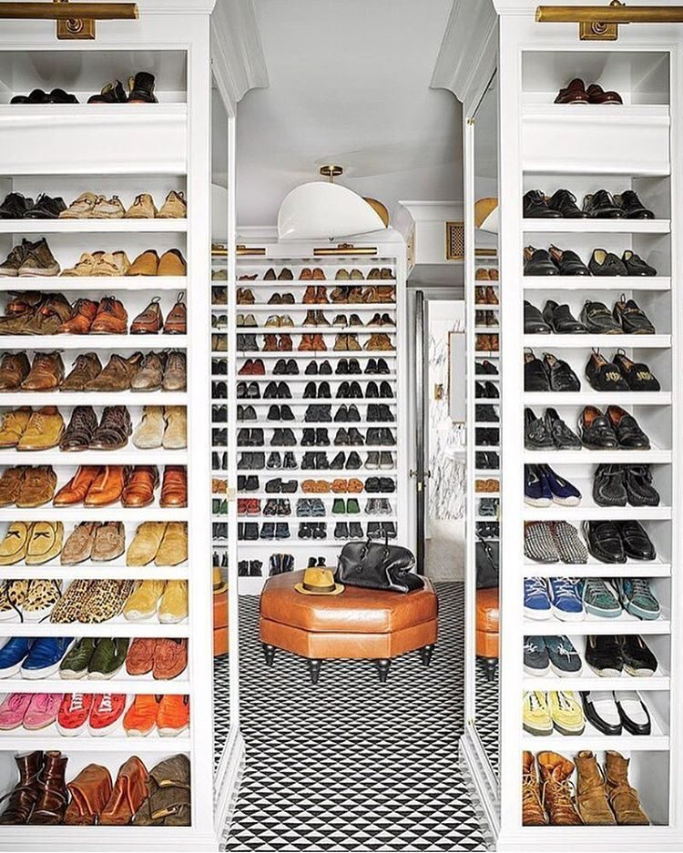 walk-in shoe storage solution
