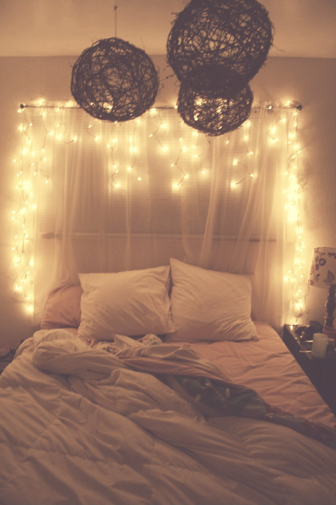 Amazing Christmas Light Ideas Bedroom Part - 1: This Simple Fabric Headboard Could Make Your Bedroom Really Attractive.  Just Make Sure To Hang