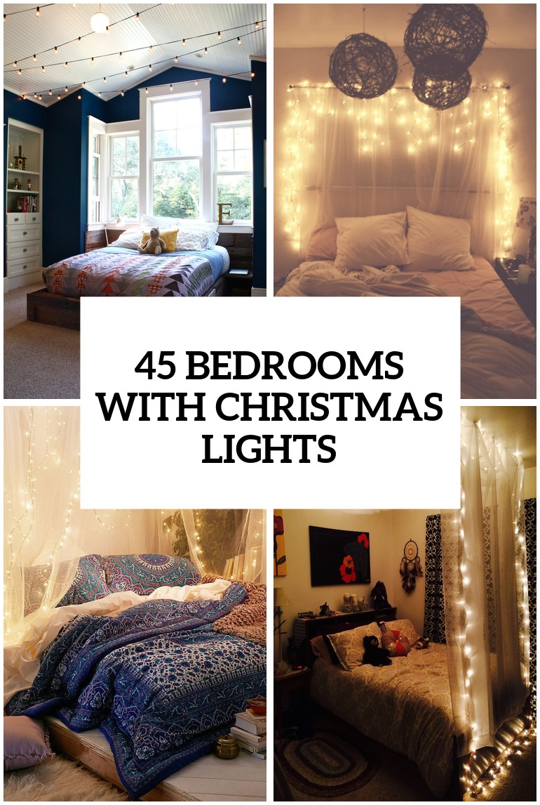 Bedroom christmas lights on ceiling - 45 Ideas To Hang Christmas Lights In A Bedroom