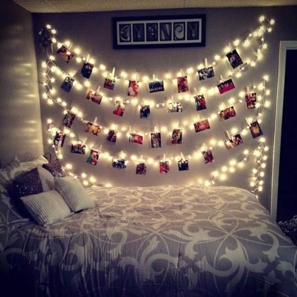 Christmas lights mixed with an Instagram gallery wall is a great way to  decorate any wall - 45 Ideas To Hang Christmas Lights In A Bedroom - Shelterness