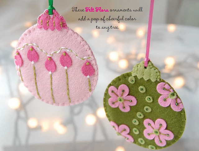 Felt Craft Ideas For Christmas Part - 36: Felt Flora Ornaments