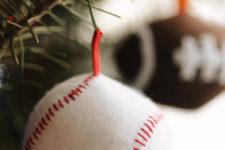 Football, basketball and baseball ornaments
