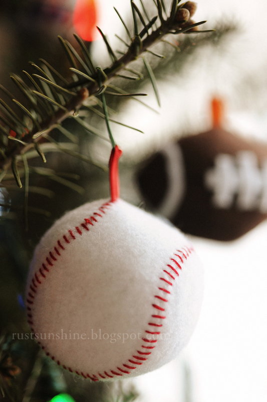 Football, basketball and baseball ornaments