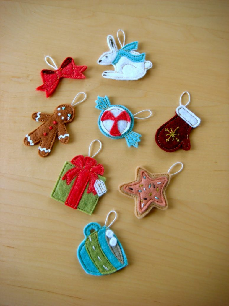 70 DIY Felt Christmas Tree Ornaments - Shelterness