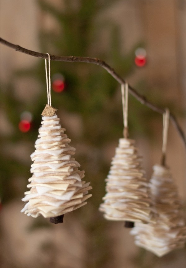 This is a contemporary take on felt christmas trees. These little ornaments are cozy and perfect to hang anywhere. (via www.thisheartofmineblog.com)