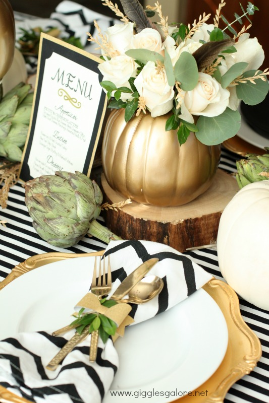 For a glam touch, spray paint your pumpkins in gold. You can use them as it is or turn into a cute little vases.