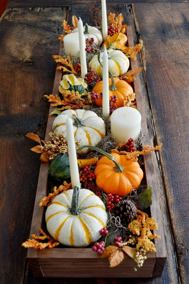 Old wooden boards could become a beautiful rustic box you can fill with all these fall goodness.