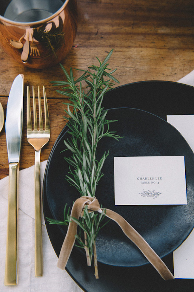 One or two rosemary twigs could become a great personal addition to a fall table setting that also smells great.