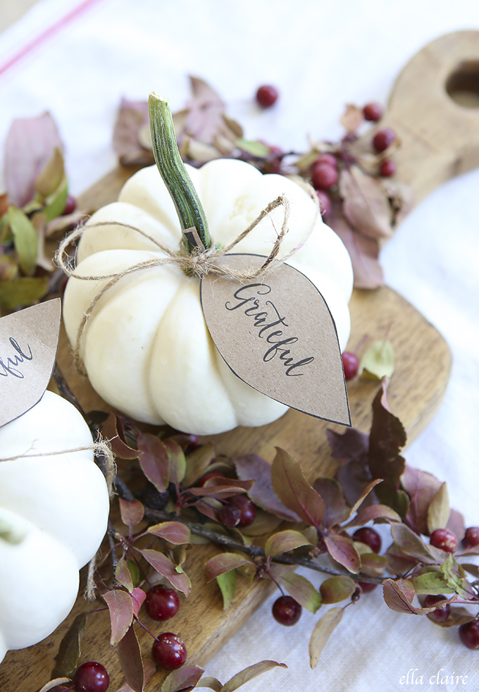 "Print several ""grateful, thankful, blessed"" tags. Attach them to several little pumpkins using twine and put on a vintage cooking board to make a simple yet good looking Thanksgiving centerpiece."
