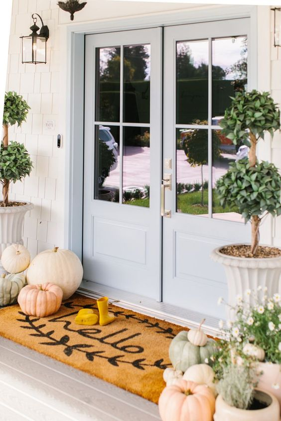 a cozy neutral porch with natural pumpkins, potted white blooms and potted trees is very lovely