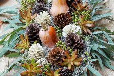 a stylish bowl centerpiece for fall or thanksgiving