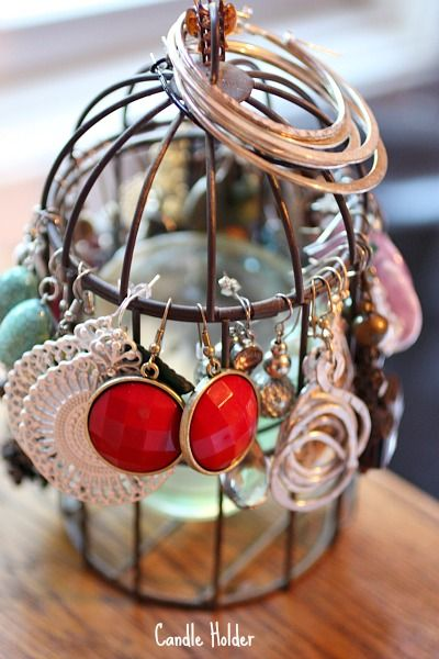 nice diy jewelry holder made of a vintage candle holder