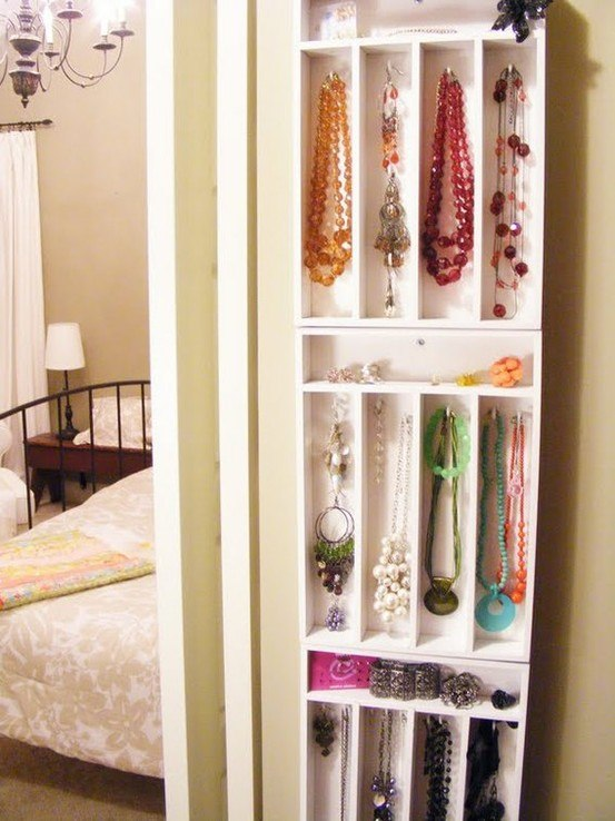 you can turn simple drawers into an awesome jewelry display