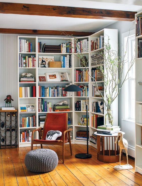 a cozy reading nook with lots of natural light