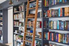 a whole built-in library with a ladder to get the books easily can be placed in any room you want