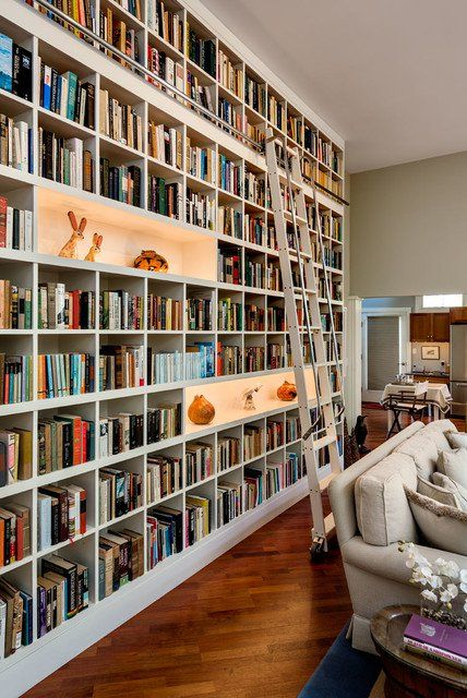 an oversized white bookcase with enlit niches and a ladder is a cool idea, take a whole wall if necessary