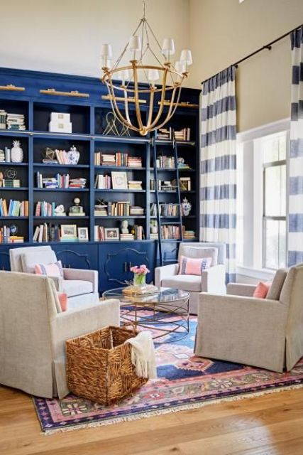 bright blue bookcases done in chic and refined style look bold, add color and create a library feel in the room