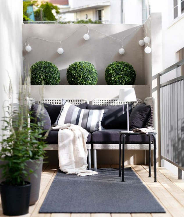 modern balcony decor with cute little shrubs