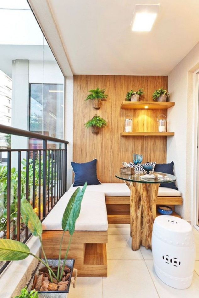 Wonderful Balcony Bench Ideas Part - 7: Zen Area With The Bench Seats And Table