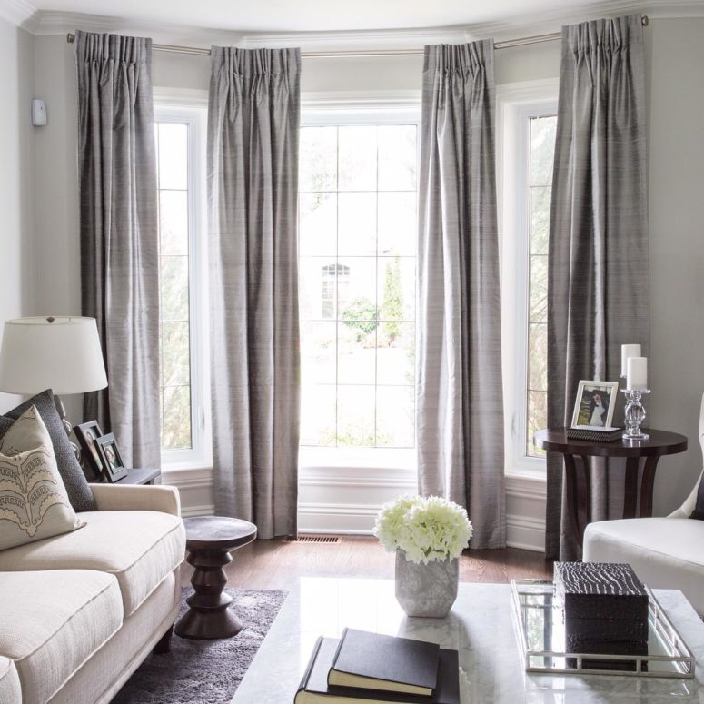 Curtains is always the best bay window treatment choice.