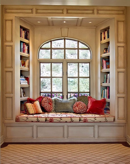 To really build on the focal-point aspect of a bay window, use rich colors and interesting patterns decorating it.