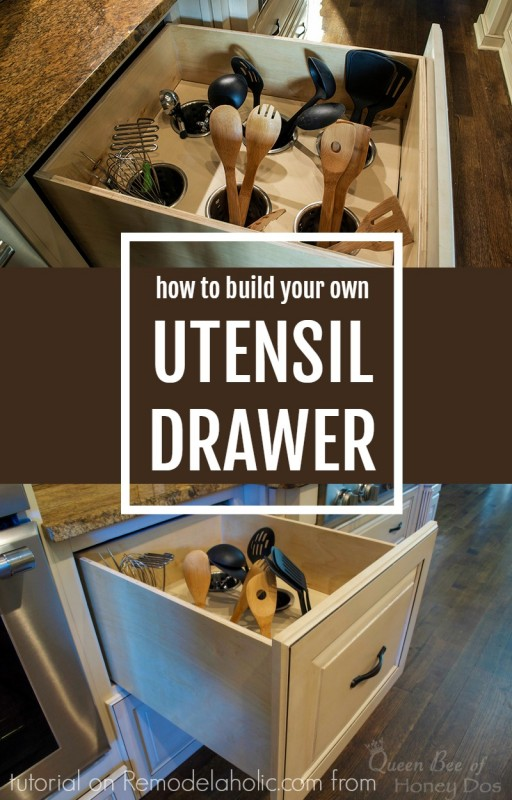 DIY upright utensil drawer organizer (via remodelaholic)