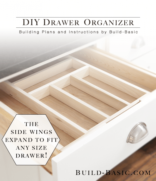 DIY wooden drawer organizer which has side wings that expand to fit any size drawer (via build-basic)