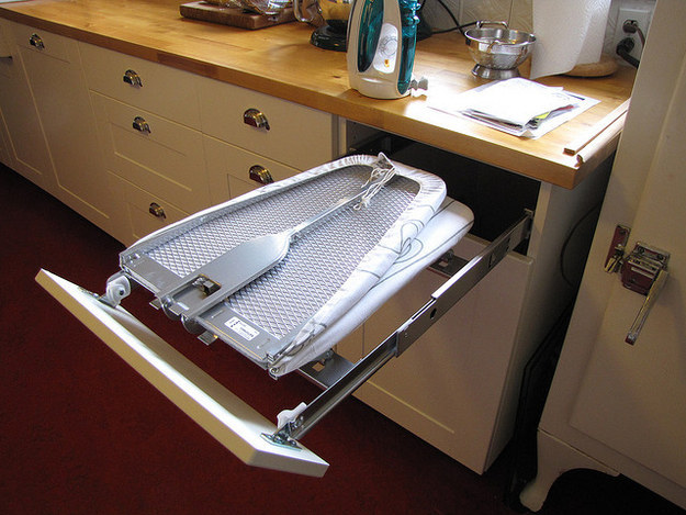 a fold-out ironing board in a spare drawer might become a perfect space saving solution for apartments