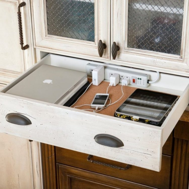 smart way to hide cords in a kitchen drawer