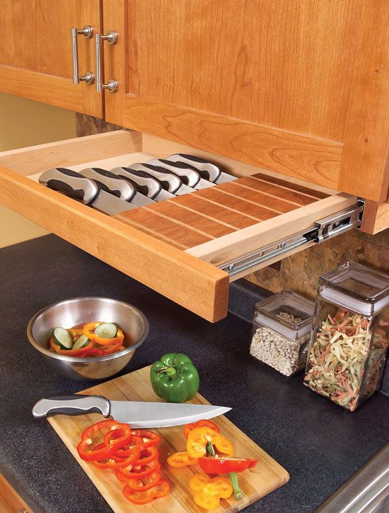 beautiful Under Cabinet Organizers Kitchen #6: under cabinet knife storage is possible thanks to a pull-out drawer