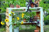 DIY potting bench made of two pallets