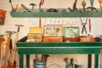 Garden shed's potting table with storage