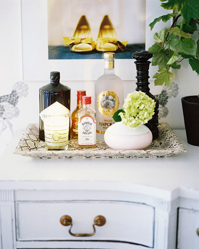 A Tray Makes A Perfect Mini Home Bar