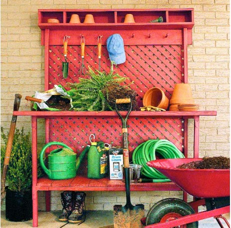 all-red potting station