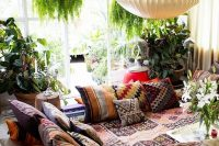 bohemian style living room where pillows act as furniture