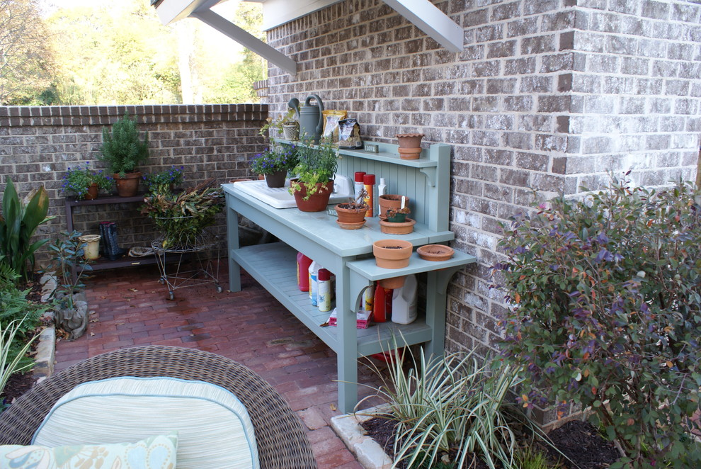 picture of cute blue garden station on a patio