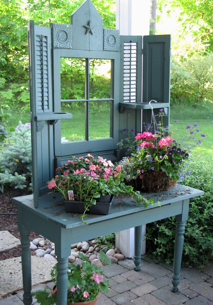 cute potting station with a real window