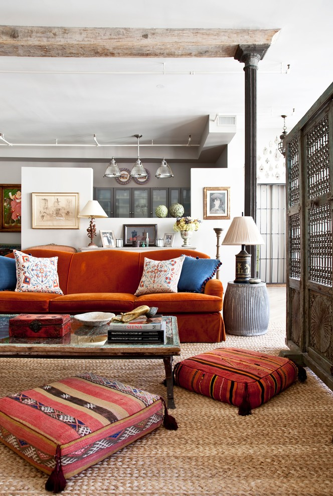 floor cusions work extremlely well in eclectic living rooms