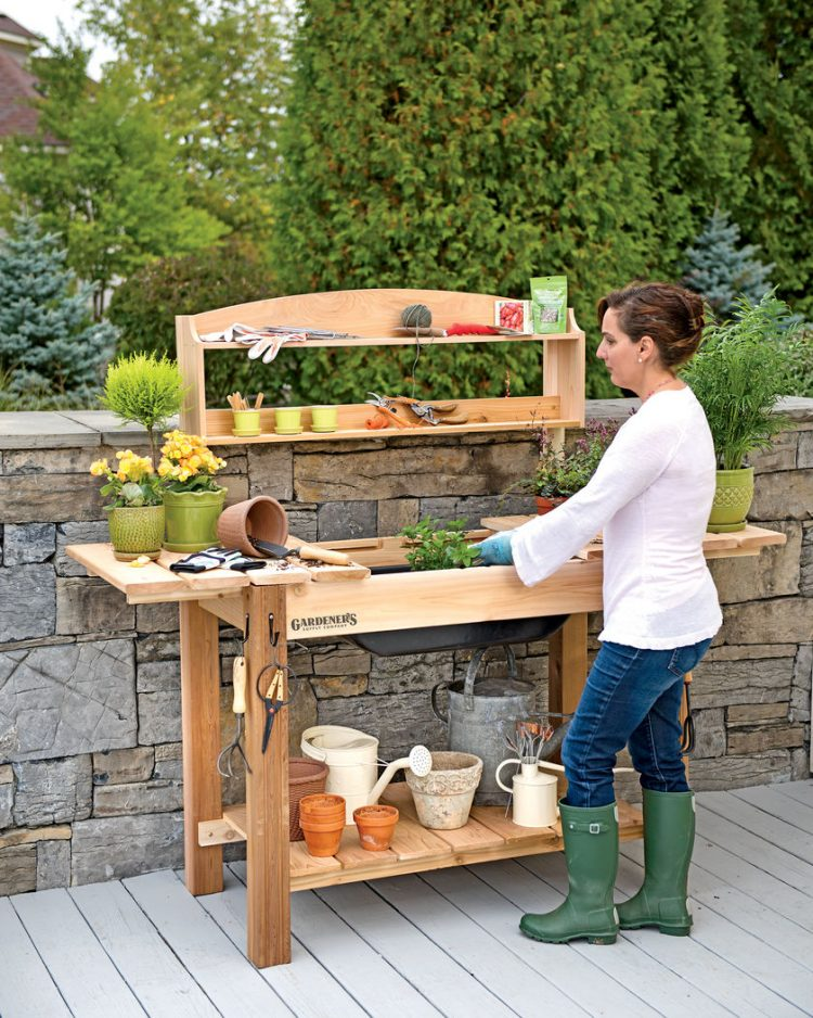 functional gardening bench with shelves