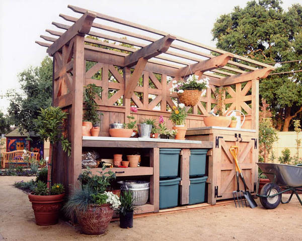 large potting bench with lots of storage