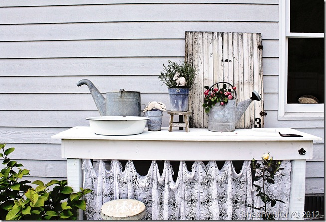 outdoor potting table in white