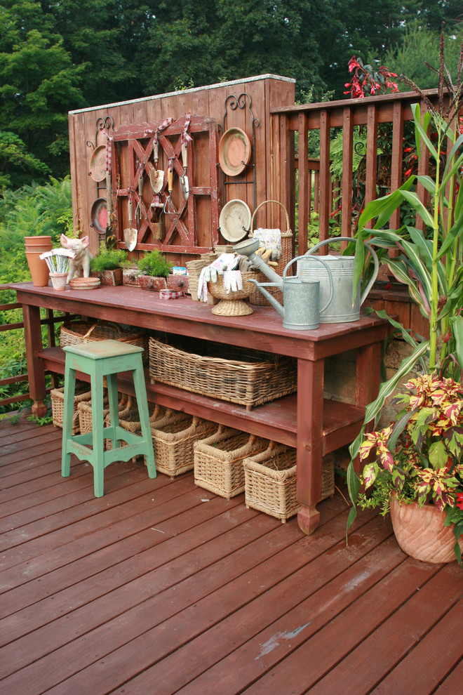 planting station builted right in a shabby chic deck - Garden Furniture Shabby Chic