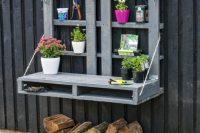 space saving haning outdoor potting bench