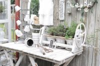 white shabby chic gardening table