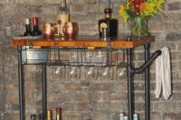 you can diy a industrial-style bar cart that will have enough space for all your booze