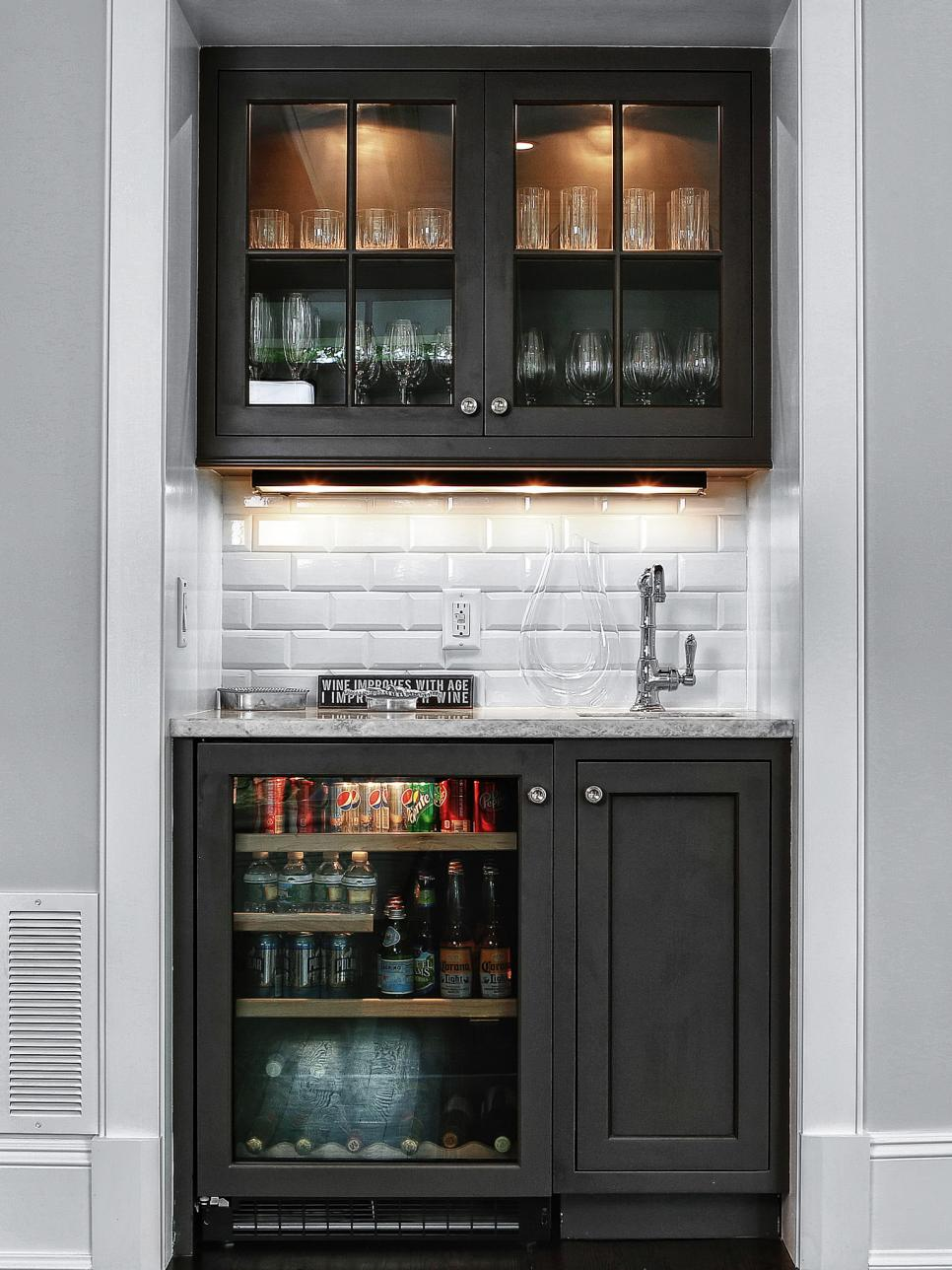 you can squeeze a home bar in an akward niche