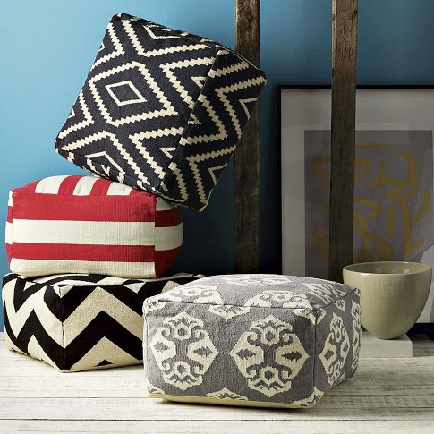 you can turn a cheap ikea floor mat into an awesome floor pouf