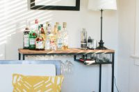 you can turn an IKEA desk into a multi-functional bar very easily