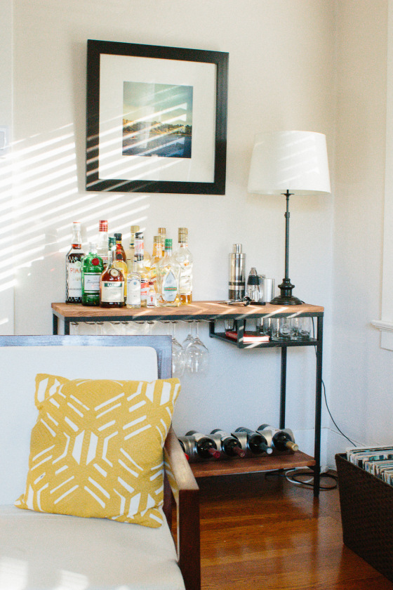 you can turn an IKEA desk into a multi functional bar very easily