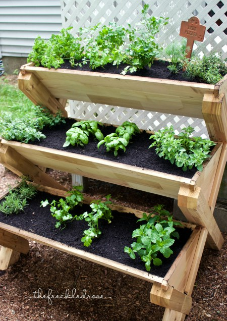 This cedar planter is a super cute way to grow herbs vertically! Great idea for a patio or deck. (via angiethefreckledrose)